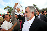 Alejandro Encinas, a leftist deputy, is welcomed by Electrical union workers who fight against the dissolution of the Luz y Fuerza del Centro (LFC) company in front of the Mexican Congress, October 12, 2009. More than sixty thousand workers demand the Calderon's action as illegal and unconstitutional. The Electrical Workers Union (SME) is an union since 1914 and it has leading historic workers struggles in Mexico. Photo by Heriberto Rodriguez
