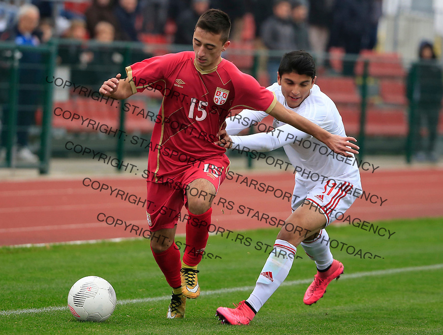 Fudbal soccer friendly match<br /> Srbija U17 v Madjarska U17<br /> Nikola Lakcevic (L)<br /> Stara Pazova, 08.12.2015.<br /> foto: Srdjan Stevanovic/Starsportphoto &copy;