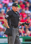 6 September 2014: Crew Chief and Home Plate Umpire Mike Everitt works a game between the Philadelphia Phillies and the Washington Nationals at Nationals Park in Washington, DC. The Nationals fell to the Phillies 3-1 in the second game of their 3-game series. Mandatory Credit: Ed Wolfstein Photo *** RAW (NEF) Image File Available ***