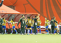 Montreal - June 9, 2015:  Brazil (yellow/blue) beat Korea (white/red/blue) 2-0 in a Women's World Cup match at the Olympic Stadium