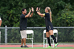 04 September 2015: Wake Forest head coach Tony da Luz (left) with Sarah Teegarden (right). The Wake Forest University Demon Deacons played the William & Mary University Tribe at Dail Soccer Field in Raleigh, NC in a 2015 NCAA Division I Women's Soccer game. The game ended in a 1-1 tie.