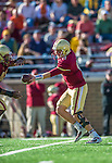 2 November 2013: Boston College Eagles quarterback Chase Rettig (11) makes a hand-off in the thord quarter against the Virginia Tech Hokies at Alumni Stadium in Chestnut Hill, MA. The Eagles defeated the Hokies 34-27. Mandatory Credit: Ed Wolfstein-USA TODAY Sports *** RAW (NEF) Image File Available ***