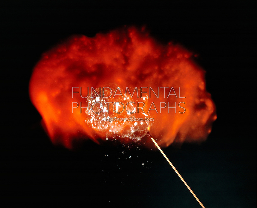 IGNITION OF HYDROGEN SOAP BUBBLES<br /> Exothermic Reaction Between Hydrogen &amp; Oxygen<br /> As the bubbles float upward, they are ignited using a long match. The orange flame is due to the reaction of hydrogen with the oxygen in the air.