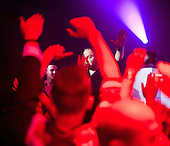"WARSAW, POLAND, JANUARY 2013:.Patryk Pegza, the leader of  AFTER PARTY band that plays disco polo music, on concert at the Eden club in Trojany near Warsaw. Disco polo is a type of dance music which originated in rural areas of Poland..Though considered tacky by many people, it is becoming incredibly popular.(Photo by Piotr Malecki / Napo Images)..Trojany k/Warszawy, styczen 2013:. Patryk Pegza, lider zespolu ""After Party"" podczas koncertui. Klub Eden w Trojanach k/W-wy.Fot: Piotr Malecki / Napo Images"