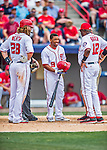 13 March 2016: Washington Nationals outfielder Ben Revere is seen by outfielder Jayson Werth and Manager Dusty Baker after fouling one off his own left shoulder during a pre-season Spring Training game against the St. Louis Cardinals at Space Coast Stadium in Viera, Florida. The teams played to a 4-4 draw in Grapefruit League play. Mandatory Credit: Ed Wolfstein Photo *** RAW (NEF) Image File Available ***