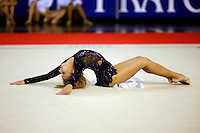 Irina Kovalchuk of Ukraine finishes with ribbon during gala exhibition at 2006 Trofeo Cariprato in Prato, Italy on June 17, 2006. Irina took 2nd place in this international invitational.  (Photo by Tom Theobald)