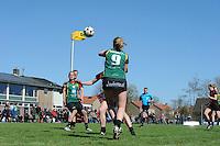 KORFBAL: REDUZUM: Sportpark Reduzum, 28-04-2013, Veld Hoofdklasse A, KV Mid Fryslân-LDODK AH Gorredijk, Eindstand 13-19, Henk Bijker (#18 | LDODK), Betty Jansma (#9 | LDODK), ©foto Martin de Jong