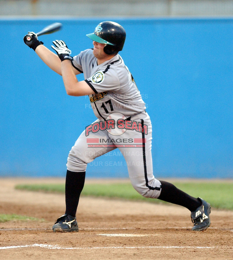 Catcher Brian McCann of the Myrtle Beach Pelicans, Class A affiliate of the Atlanta Braves, taken at Pfitzner Stadium, Woodbridge, Virginia, May 14, 2004. (Tom Priddy/Four Seam Images)