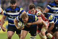 Ross Batty of Bath Rugby takes on the Gloucester Rugby defence. Aviva Premiership match, between Bath Rugby and Gloucester Rugby on April 30, 2017 at the Recreation Ground in Bath, England. Photo by: Patrick Khachfe / Onside Images