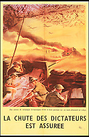 BNPS.co.uk (01202 558833)<br /> Pic: Onslows/BNPS<br /> <br /> ***Please use full byline***<br /> <br /> A poster in French reading 'British field canons fire close range at a German tank in Libya - the fall of the dictators is assured.'<br /> <br /> A fascinating archive of propaganda posters used to boost the moral of British soldiers and citizens during the Second World War has emerged for sale.<br /> <br /> Among the collection are rousing images of Allied desert tanks destroying their Nazi opponents, marine commandos storming an occupied village and RAF bombers striking German factories.<br /> <br /> Others feature the capture of a German U-Boat and a British navy cruiser broadsiding an Italian submarine.<br /> <br /> The scenes are accompanied by equally stirring messages reassuring that &ldquo;the fall of the dictators is assured&rdquo; and that Great Britain was the &ldquo;defender of liberty&rdquo;.<br /> <br /> Many of the posters were destined for display overseas where troops had little idea of how the Allies were faring against the Nazis overall.