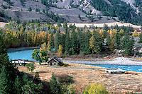 Cariboo Chilcotin Coast Region, BC, British Columbia, Canada - Old Historic Homestead along Chilcotin River in Farwell Canyon, Autumn / Fall