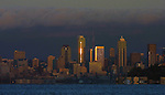Seattle bathed in the sunset.  ©2013. Jim Bryant Photo. All Rights Reserved.