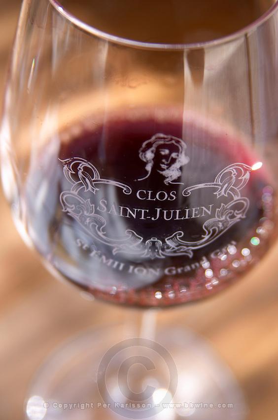 Wine glasses. Clos Saint Julien, Saint Emilion, Bordeaux, France