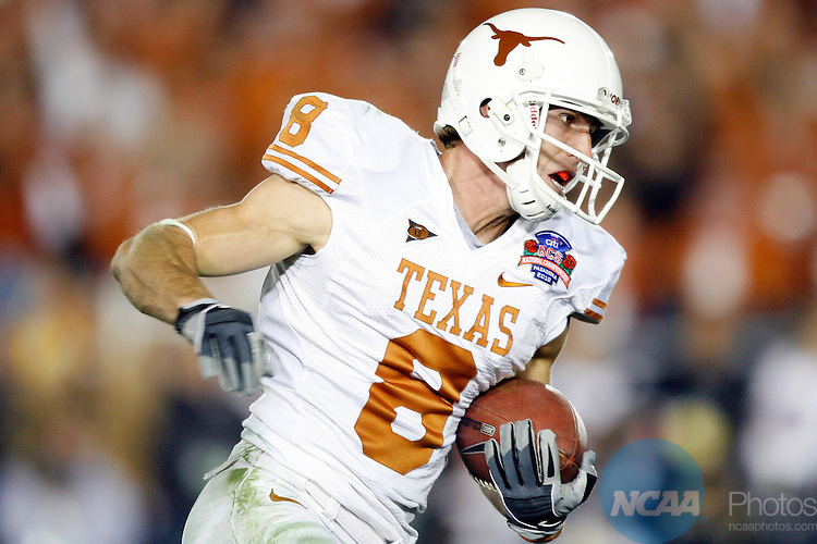 07 JAN 2010:  Jordan Shipley (8) of the University of Texas pulls down a touchdown reception against the University of Alabama during the BCS National Championship held at the Rose Bowl in Pasadena, CA.  Alabama defeated Texas 37-21 for the national title. Jamie Schwaberow/NCAA Photos