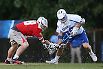 09 May 2015: Ohio State's Jake Withers (CAN) (left) and Duke's Kyle Rowe (right) challenge for a faceoff. The Duke University Blue Devils hosted the Ohio State University Buckeyes at Koskinen Stadium in Durham, North Carolina in a 2015 NCAA Division I Men's Lacrosse Tournament First Round match. Ohio State won the game 16-11.