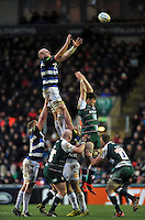 Matt Garvey of Bath Rugby rises high to win lineout ball. Aviva Premiership match, between Leicester Tigers and Bath Rugby on November 29, 2015 at Welford Road in Leicester, England. Photo by: Patrick Khachfe / Onside Images