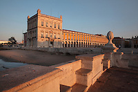 Placa do Commercio or Commerce Square, Lisbon, Portugal, seen from the banks of the river Tagus. The square was previously known as Terreiro do Paco or Palace Square as it was the site of the Pacos da Ribeira or Royal Ribeira Palace until it was destroyed in the 1755 earthquake. Picture by Manuel Cohen