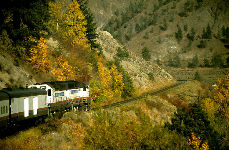Canada: About the train The Rocky Mountaineer between Vancouver and Banff.  Photo #: cnrail101.Photo copyright Lee Foster, 510/549-2202, lee@fostertravel.com, www.fostertravel.com
