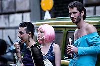 Roma 6 Aprile 2013. La Marcia delle puttane,  corteo partito dal Teatro Valle  organizzato dalle reti femministe e Queer ( lgbtq) contro ogni forma di violenza a sfondo sessista.