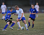 Oxford's Tom Kendricks (21) vs. Saltillo in boys high school soccer action at Oxford High School in Oxford, Miss. on Thursday, January 27, 2011.