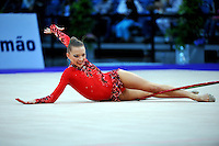 Melitina Staniouta of Belarus performs with hoop (finishes routine) during Event Finals at 2010 World Cup at Portimao, Portugal on March 14, 2010.  (Photo by Tom Theobald).