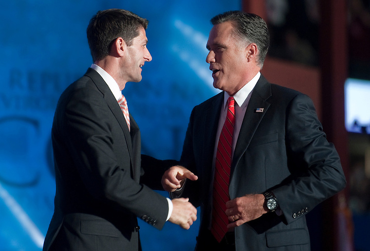 UNITED STATES - AUGUST 30: GOP Vice Presidential candidate Rep. Paul Ryan, R-Wis., greets GOP Presidential candidate Mitt Romney after Romney's speech at the 2012 Republican National Convention at the Tampa Bay Times Forum. (Photo By Chris Maddaloni/CQ Roll Call)