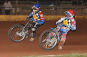 Heat 12: Shane Hazelden (blue) and David Mason (red) on their way to a 5-1 - Hackney Hawks vs Team America - Speedway Challenge Meeting at Rye House - 09/04/11 - MANDATORY CREDIT: Gavin Ellis/TGSPHOTO - Self billing applies where appropriate - Tel: 0845 094 6026