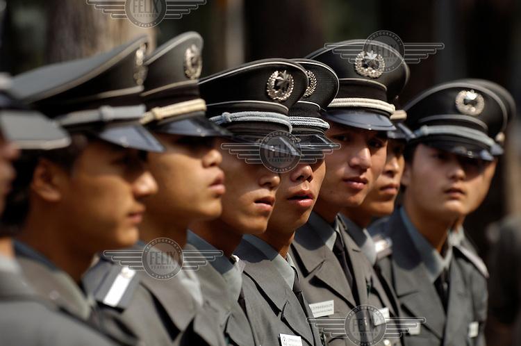 Police preparing for duty around Tiananmen.