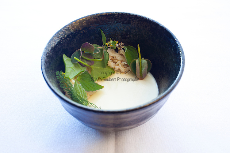 Dungeness crab with chilled consume and Oregon uni