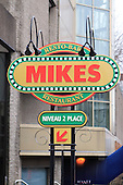 Outdoor sign for Mikes restaurant in downtown Montreal, Quebec