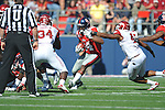 Ole Miss' Brandon Bolden (34) runs against Arkansas linebacker Alonzo Highsmith (45) at Vaught-Hemingway Stadium in Oxford, Miss. on Saturday, October 22, 2011. .
