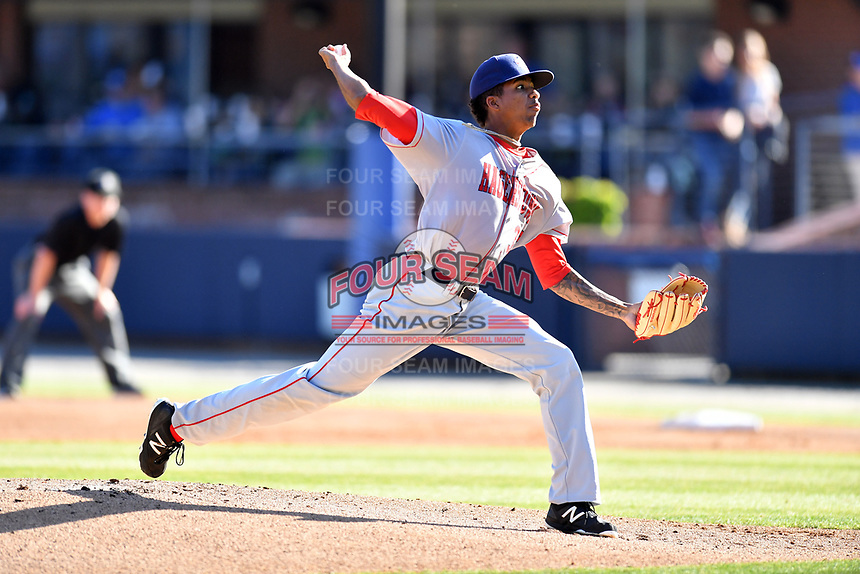 Hagerstown Suns starting pitcher Sterling Sharp (37) delivers a pitch during a game against the  Asheville Tourists at McCormick Field on May 13, 2017 in Asheville, North Carolina. The Suns defeated the Tourists 9-5. (Tony Farlow/Four Seam Images)