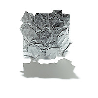 New York, NY, USA - December 8, 2011: Origami tessellation folded in silver foil by Esmé Cribb.
