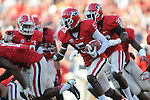 Georgia defensive back Damian Swann (5) recovers a Ole Miss wide receiver Vince Sanders (10) fumble at Sanford Stadium in Athens, Ga. on Saturday, November 3, 2012.