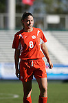 Clemson's Jacquelyn Hines on Wednesday, November 2nd, 2005 at SAS Stadium in Cary, North Carolina. The Florida State University Seminoles defeated the Clemson University Tigers 4-0 during their Atlantic Coast Conference Tournament Quarterfinal game.