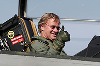 Head of the airline Norwegian arrives as passenger on the Swedish fighter jet JAS Gripen.  The announcement that the airline has chosen to fly from Rygge Airport was made as a large airshow was being prepared for the weekend. The Gripen is one of the aircraft being considered to replace Norway's ageing F-16 Fighters. Norway Bjørn Kjoos