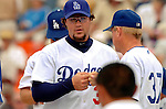 19 March 2006: Eric Gagne, pitcher for the Los Angeles Dodgers, returns to the dugout during a Spring Training game against the Washington Nationals at Holeman Stadium, in Vero Beach, Florida. The Dodgers defeated the Nationals 9-1 in Grapefruit League play...Mandatory Photo Credit: Ed Wolfstein Photo..