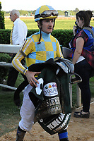 HOT SPRINGS, AR - APRIL 15: Jockey Julien Leparoux leaving the winners circle after winning the Arkansas Derby at Oaklawn Park on April 15, 2017 in Hot Springs, Arkansas. (Photo by Justin Manning/Eclipse Sportswire/Getty Images)