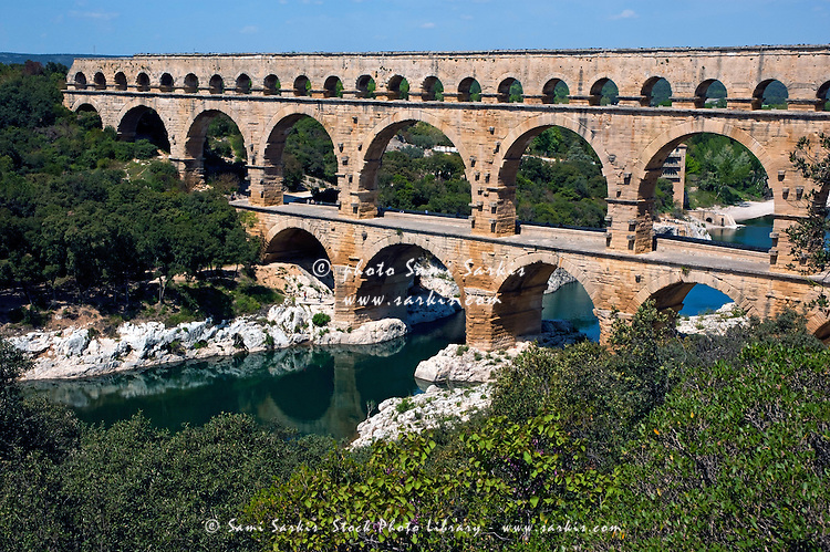 The Pont du Gard, an ancient Roman aqueduct bridge that ...