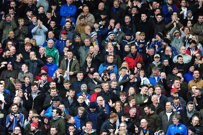 Preston North End fans during the pre-match warm-up <br /> <br /> Photographer Chris Vaughan/CameraSport<br /> <br /> Football - The Football League Sky Bet Championship - Blackburn Rovers v Preston North End - Saturday 2nd April 2016 - Ewood Park - Blackburn<br /> <br /> &copy; CameraSport - 43 Linden Ave. Countesthorpe. Leicester. England. LE8 5PG - Tel: +44 (0) 116 277 4147 - admin@camerasport.com - www.camerasport.com