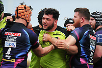 Ellis Genge of Leicester Tigers gets to know Ollie Atkins of Exeter Chiefs. Anglo-Welsh Cup Final, between Exeter Chiefs and Leicester Tigers on March 19, 2017 at the Twickenham Stoop in London, England. Photo by: Patrick Khachfe / JMP