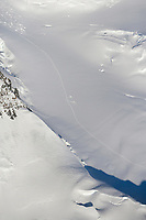 Aerial of mountain climbers on the West Buttress route of Denali, North America's highest peak.