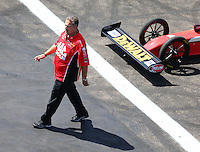 Aug 21, 2016; Brainerd, MN, USA; Jim Oberhofer , crew chief for NHRA top fuel driver Doug Kalitta during the Lucas Oil Nationals at Brainerd International Raceway. Mandatory Credit: Mark J. Rebilas-USA TODAY Sports