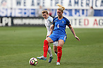 CHESTER, PA - MARCH 01: Amandine Henry (FRA) (6) and Ellen White (ENG) (11). The England Women's National Team played the France Women's National Team as part of the She Believes Cup on March, 1, 2017, at Talen Engery Stadium in Chester, PA. The France won the game 2-1.