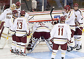 The Eagles start to gather around Parker Milner's (BC - 35) crease. - The Boston College Eagles defeated the visiting Dartmouth College Big Green 6-3 (EN) on Saturday, November 24, 2012, at Kelley Rink in Conte Forum in Chestnut Hill, Massachusetts.