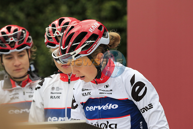 Cervelo-Bigla Pro Cycling Team riders at sign on before the start of the Ladies 2017 Strade Bianche running 127km from Siena to Siena, Tuscany, Italy 4th March 2017.<br /> Picture: Eoin Clarke | Newsfile<br /> <br /> <br /> All photos usage must carry mandatory copyright credit (&copy; Newsfile | Eoin Clarke)
