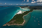 Aerial view of Whitehaven Beach - a seven kilometre stretch of untouched pure silica white sand