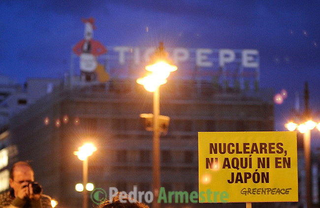 Members of Greenpeace protest in Madrid against nuclear power in the wake of the disaster in Japan on March 17, 2011.Los miembros de Greenpeace protesta en Madrid contra la energía nuclear a raíz de la catástrofe en Japón el 17 de marzo 2011. Greenpeace/ Pedro ARMESTRE. NO SALES - NO ARCHIVES - EDITORIAL USE ONLY - FREE USE ONLY FOR 14 DAYS AFTER RELEASE - PHOTO PROVIDED. BY GREENPEACE - AP PROVIDES ACCESS TO THIS PUBLICLY .DISTRIBUTED HANDOUT PHOTO TO BE USED ONLY TO ILLUSTRATE .NEWS REPORTING OR COMMENTARY ON THE FACTS OR EVENTS.