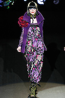 Fabiana walks runway in a The Way U Look Tonight outfit, from the Betsey Johnson Fall 2011 He Loves Me Not - Black Tag collection, during Mercedes-Benz Fashion Week Fall 2011.