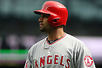 Los Angeles Angels first baseman Albert Pujols looks over the crowd before facing Seattle Mariners'  starting pitcher Felix Hernandez in the first inning of season home opener April 6, 2015 at Safeco Field in Seattle.  The Mariners beat the Angels 4-1.     ©2015. Jim Bryant Photo. ALL RIGHTS RESERVED.
